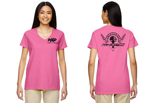 Ladies Hot Pink T-Shirt with Black MAD Log
