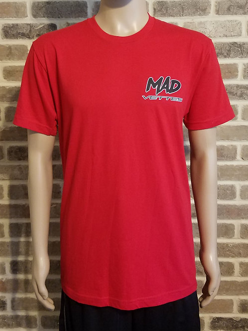 Red T-Shirt with Black & White MAD Vettes Logo