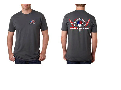 Gray Shirt with Red,White, Blue Logo on Back, MAD Vettes Front Left
