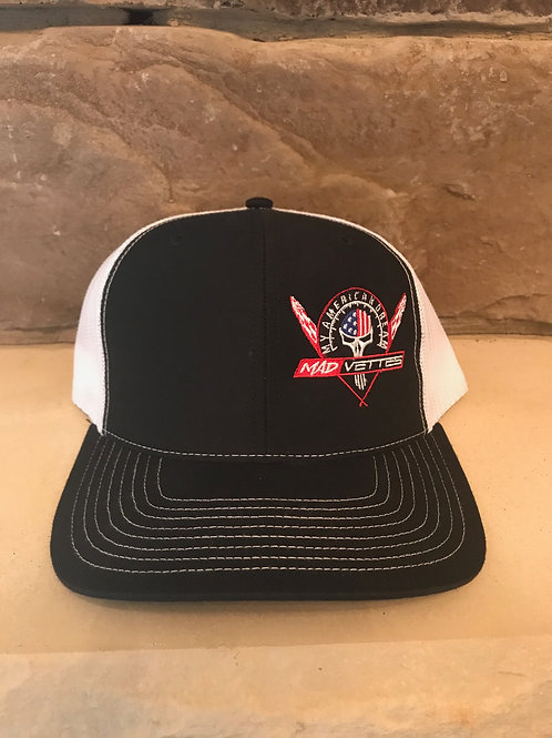 Black/White Mesh Hat with Red, White & Blue MAD Vettes/My American Dream Logo