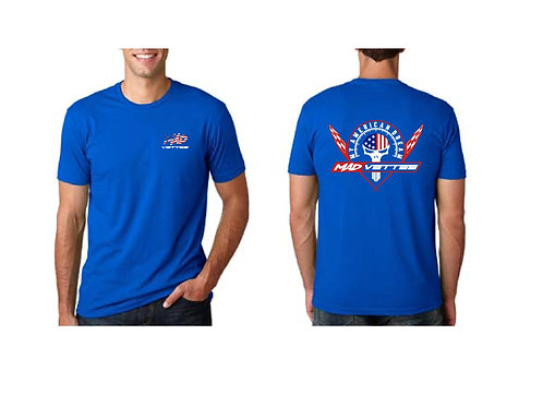 Royal Blue Shirt w Red, White, Blue Logo Back, MAD Vettes Front Left