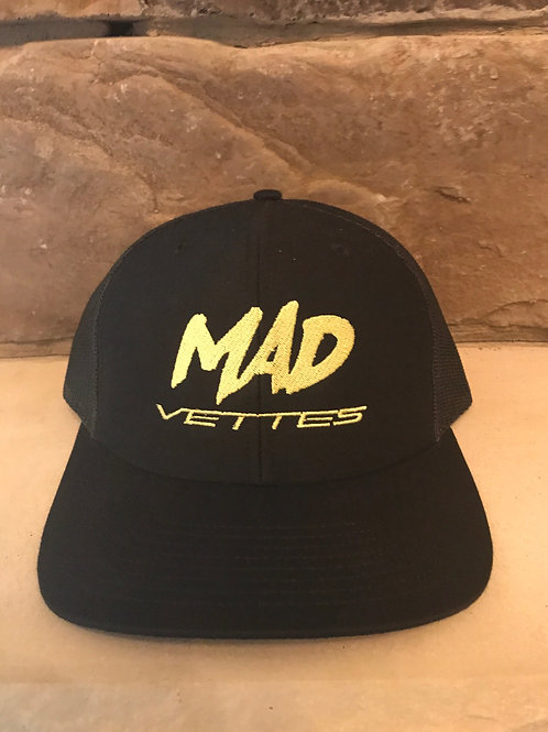 Black Mesh Hat with Yellow MAD Vettes