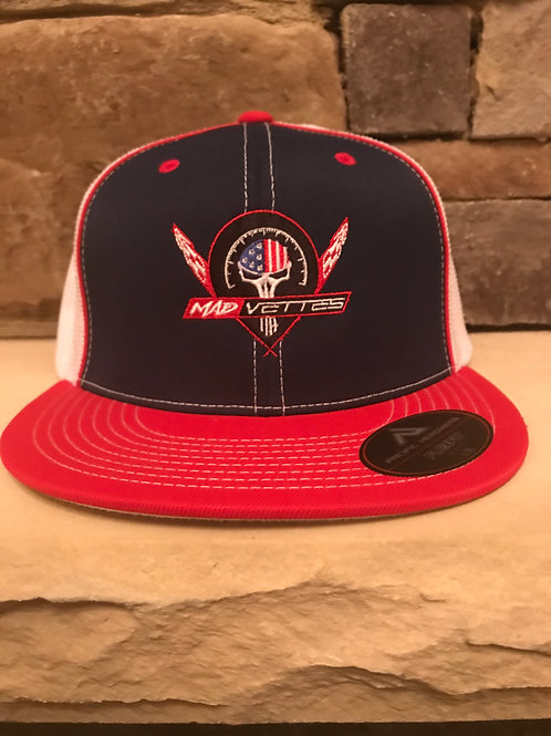Fitted Mesh Navy/Red MAD Vettes Logo
