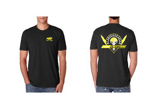 Black Shirt with Yellow Logo on Back, MAD Vettes Front Left