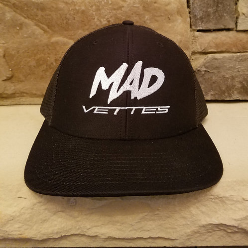 Black Mesh Hat with White MAD Vettes