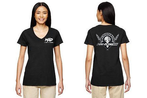 Ladies Black T-Shirt with White MAD Logo