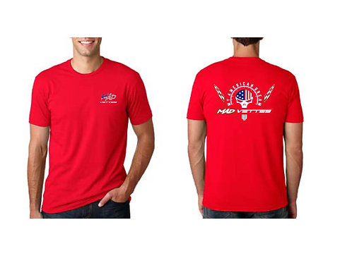 Red Shirt w Red, White, Blue Logo Back, MAD Vettes Front Left