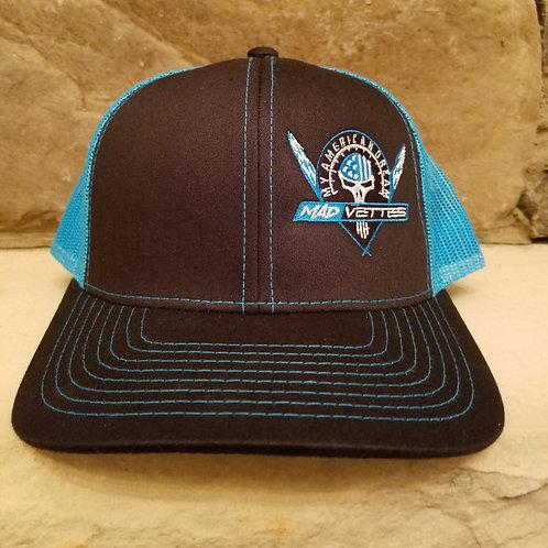 Black/Neon Blue MAD Logo Hat