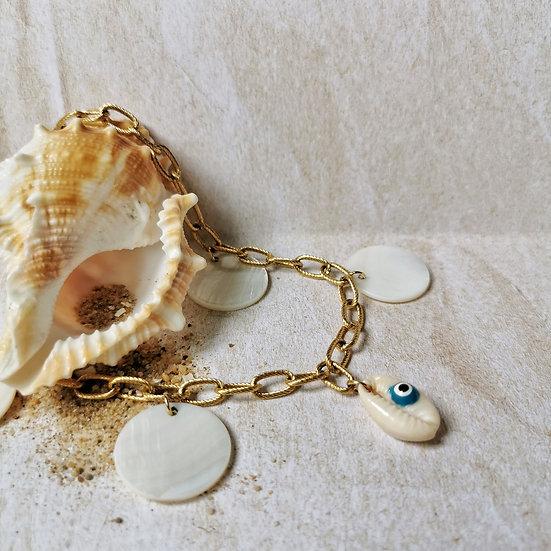 Bijou grosse chaîne maille, sequin en nacre et coquillage Oeil bleu