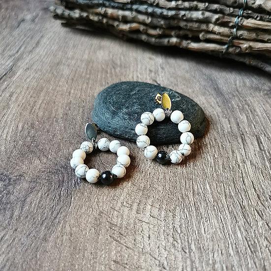 Boucles d'oreilles et pierres naturelles marbrées et hématites
