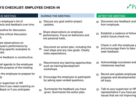 Manager's Checklist: Employee Check-in