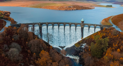 Elan Valley Welsh Water from above