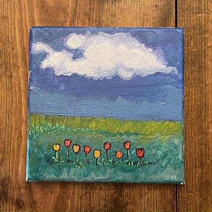 A Happy Row of Tulips
