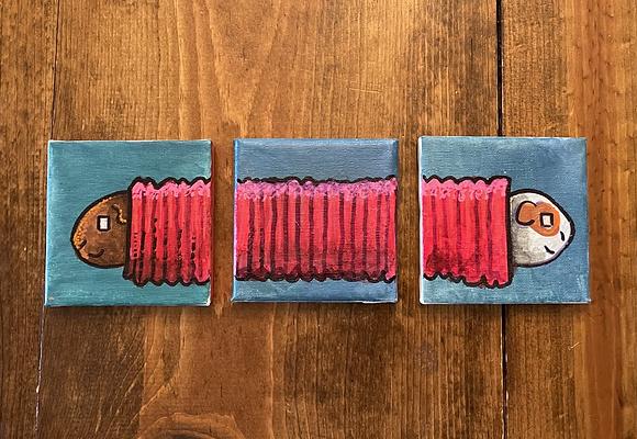 Guinea Pig Trio 3 4x4 canvases