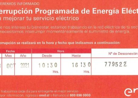 Interrupción programada de energía eléctrica