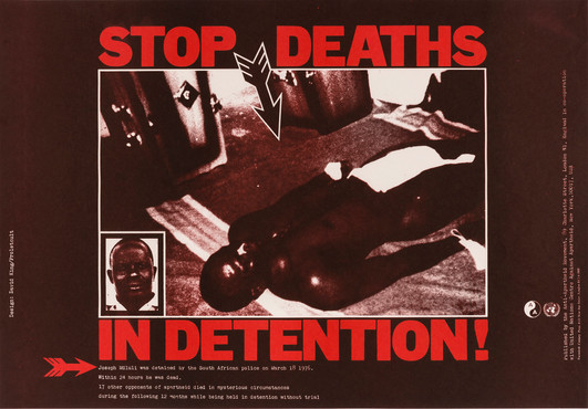 David King/Proletcult, Stop Deaths in Detention!, Anti-Apartheid Movement, 1977