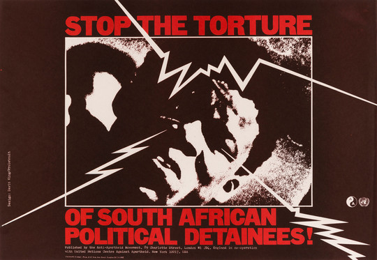 David King/Proletcult, Stop the Torture of South African Political Detainees!, Anti-Apartheid Movement, 1977