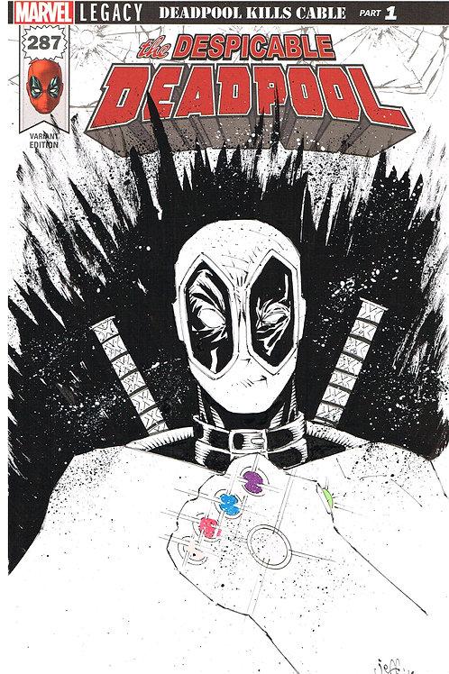 Deadpool w/ Infinity Guantlet bustsketch