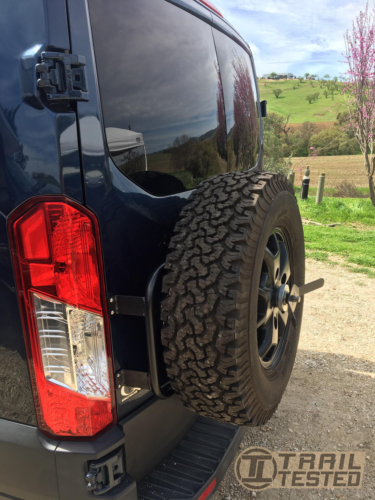 ford transit door mount spare tire carrier trailtestedmfg