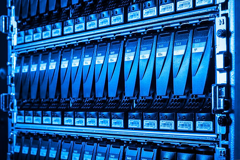 close-up of hard drives in data center.j