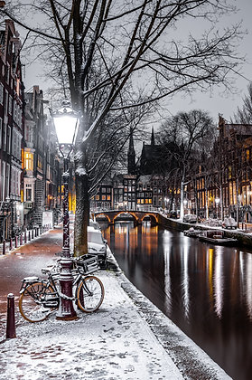 Snowy Night in Amsterdam | Poster
