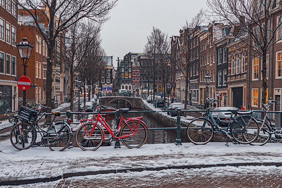 Postcard Snow in Amsterdam
