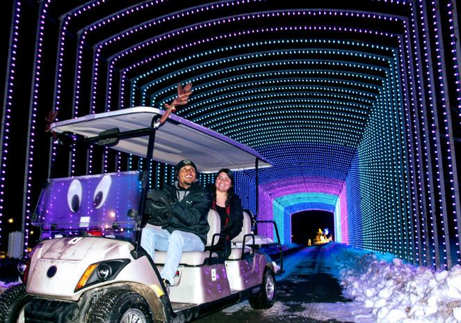 Golf Cart Parade going through tunnel