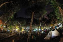 Campingplatz in der Dämmerung