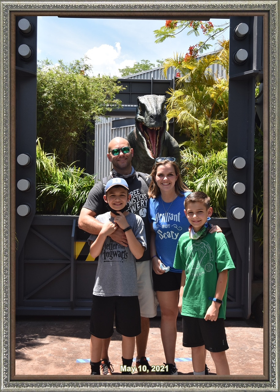 Kasey and the family at Universal Orlando