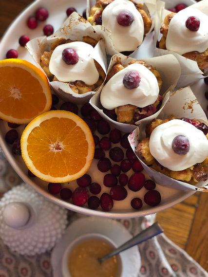 Orange Cranberry Bread Pudding Cupcakes.