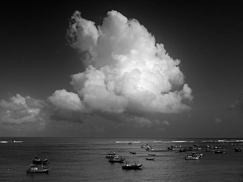 Fishing Boats at Weligama Bay With a Cloud