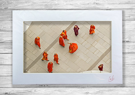 Monks from Above (Matted Print)