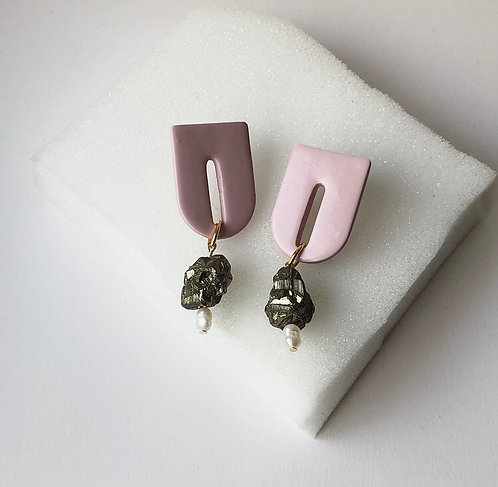 OPHELIA IN PINK WITH FOOLS GOLD & FRESHWATER PEARLS