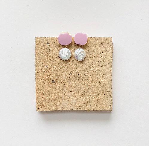MINI BON BON EARRINGS IN PASTEL PINK W/ A POP OF YELLOW