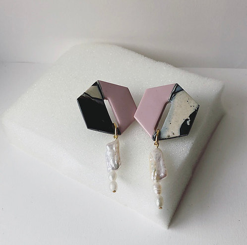 JUNIPER IN PINK & MARBLE WITH FRESHWATER PEARLS