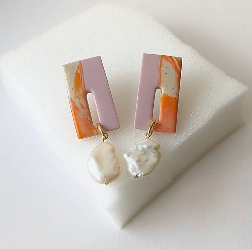 ASTRID IN PINK & ORANGE WITH LARGE FRESHWATER PEARLS