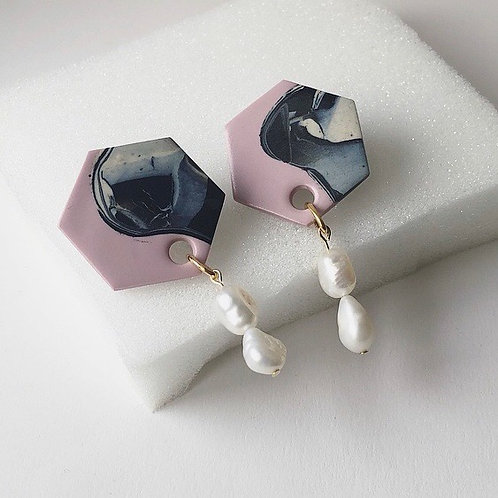 JUNIPER YIN YANG IN PINK & MARBLE WITH FRESHWATER PEARLS