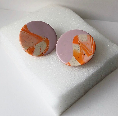 ABSTRACT YIN YANG IN ORANGE MARBLE & PINK
