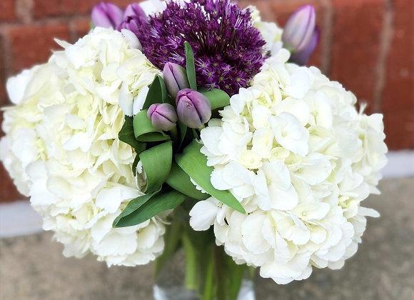 Fresh Flowers: tulips, hydrangeas and allium