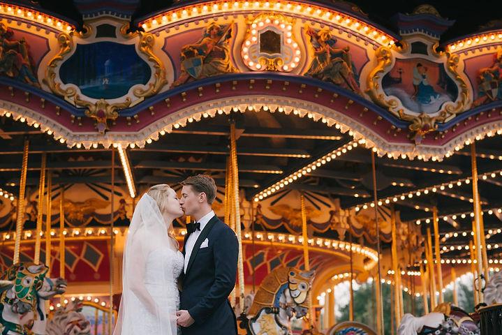 wedding bride and groom carousel disney orlando