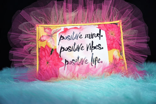 "Yellow ""Positive"" Inspirational Pillow"