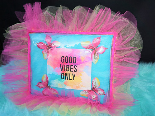 """""""Good Vibes Only"""" Inspirational Pillow"""