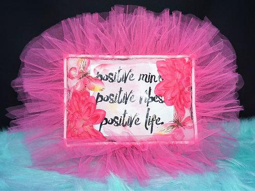"""Pink """"Positive"""" Inspirational Pillow"""