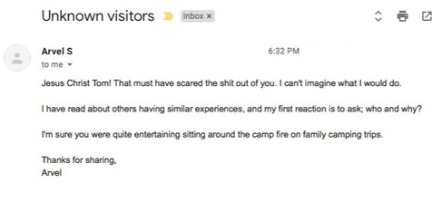 Arvel's feedback 8-9-19 Podcase: 'Visitor in the Dark'