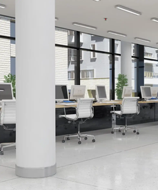 A clean grey and white office interior.