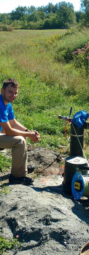 Pump pressure testing water wells in Vermont.