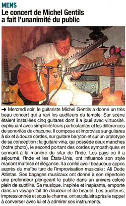 Le Dauphiné Libéré, Concert au Temple de MENS (Isère)