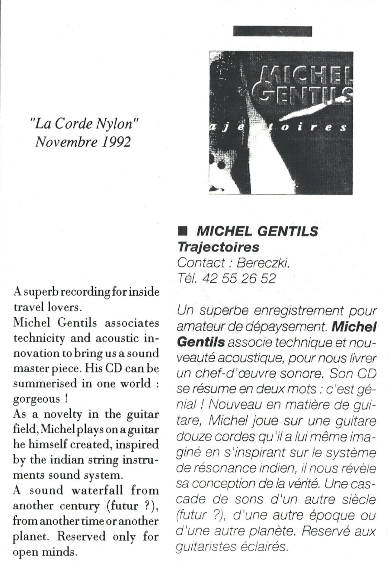 La Corde Nylon, critique du CD Trajectoires »