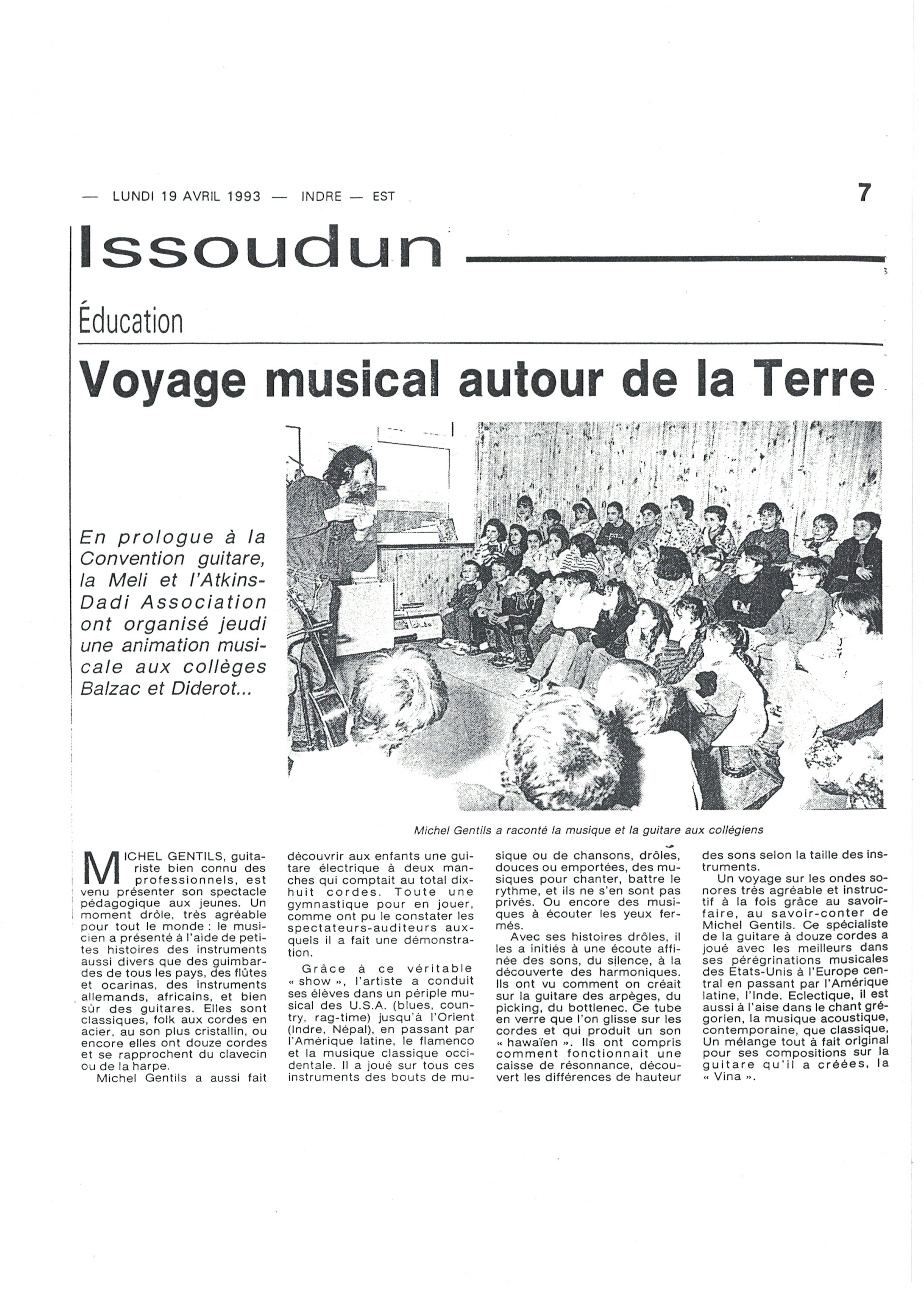 Le Festival de Guitare d'Issoudun dans les collèges