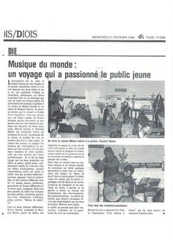 """Le Dauphiné Libéré sur le spectacle """"l'Arc en Ciel Sonore"""" en duo avec Shyamal MAÏTRA"""